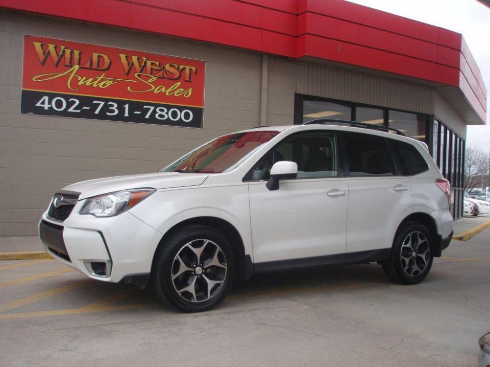2014 WHITE SUBARU FORESTER 2.0XT PREMIUM (JF2SJGDC9EH) with an 2.0L engine, Continuously Variable transmission, located at 6610 L St., Omaha, NE, 68117, (402) 731-7800, 41.212872, -96.014702 - Photo #0